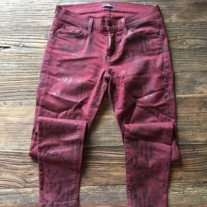 7 For All Mankind | Maroon & Black Skinny Jeans 28